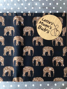 Elephants Gold Universal Pram Liner + Strap Covers