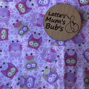 Owls Pink Universal Pram Liner + Strap Covers