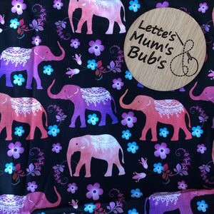 Elephants Black/Pink/Orange Taggie Comforter Blanket 30x30cm
