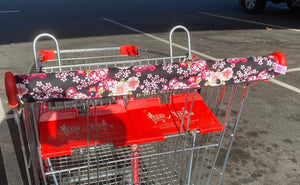 Premade Black Floral Trolley Bar Cover