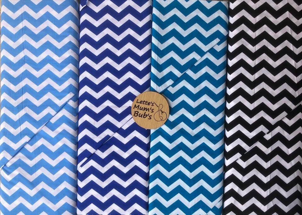 Chevron Teal Universal Pram Liner + Strap Covers