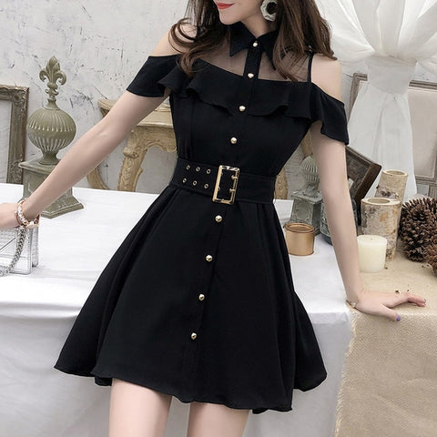 Black Turn-down Collar Mini Short Chic Dress
