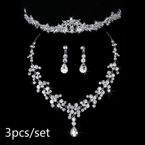 Bridal Wedding Party Jewelry Set Crystal Rhinestone Necklace  Earrings Tiara  jewelry set for women gift