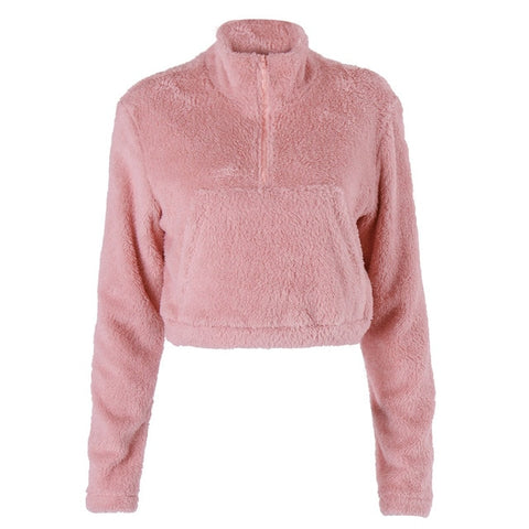 Teddy Cozy Faux Fur Cropped Sweatshirt