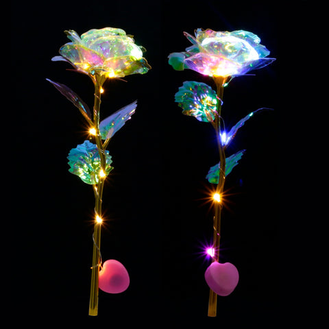 Romantic Colorful LED Fairy Rose Artificial Galaxy Rose Flowers
