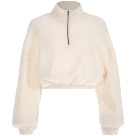 Hye Fashion Multi-Color Faux Fur Coat Zip Up Jacket
