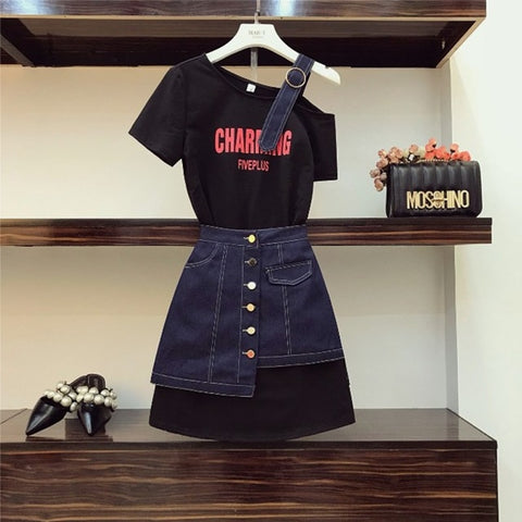 Strapless Shoulder Letter Long T shirt & High Waist Denim Skirt