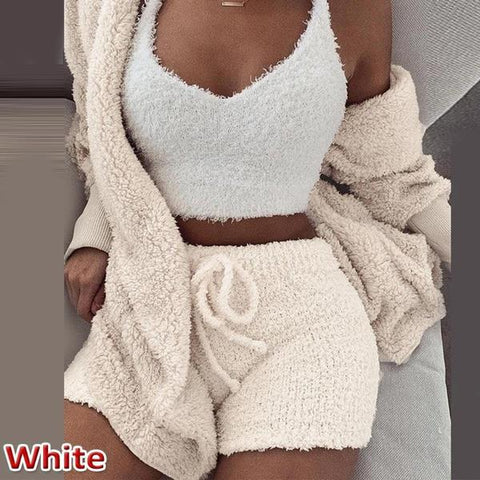 Cute Outfit Pajama Sets Hooded Robe + Shorts