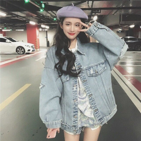 Big Loose Denim Jacket Women Long Sleeve Coat Hip Hop Hole Single Breasted Jacket