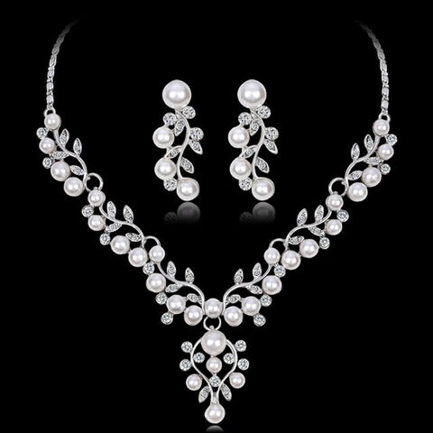 African Beads Jewelry Set Wedding Imitation Crystal Bridal Necklace Jewelry Costume Pearl Jewelry Sets For Wome
