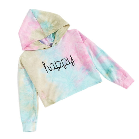 Letter Printed Hoodies Sweatshirts Teen Kids Girls Pullover Multicolor Tie dye