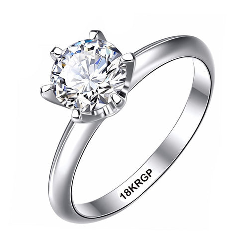 Luxury Classic 1 Carat Lab Diamond Ring With Certificate 18KRGP Stamp White Gold