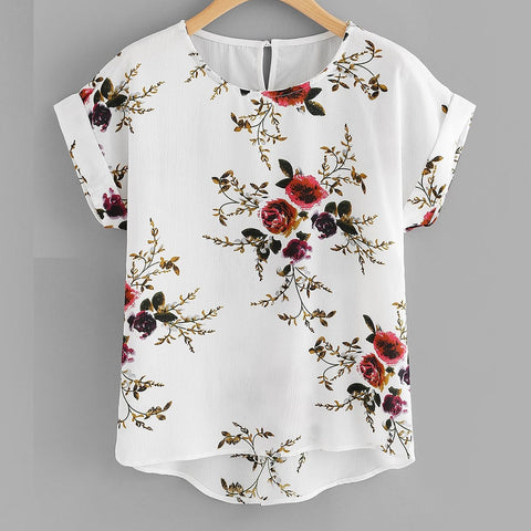 Summer Fashion Floral Print Blouse Pullover Ladies O-Neck Tee Tops