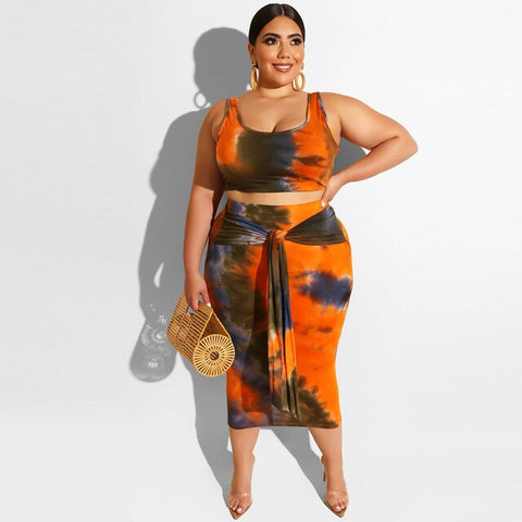 Women Plus Size Two Piece Skirt Set Crop Tops Sexy Tie-Dye Print Party Tracksuit Clothes