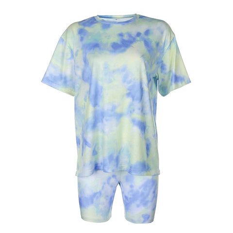 Tie Dye Two Piece Short Set for Women Casual Basic T-shirt and Skinny Shorts Set