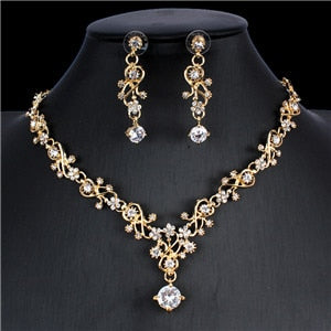 Classic women's wedding jewelry set Gold Silver Color  fine necklace earrings accessory gift