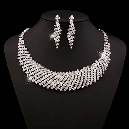 Luxurious Wedding Jewelry Sets for Bridal Bridesmaid Jewelry Drop Earring Necklace