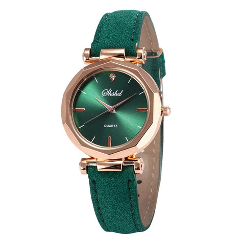 Women Leather Casual Watch Luxury Analog Quartz Crystal Wristwatch Bracelet