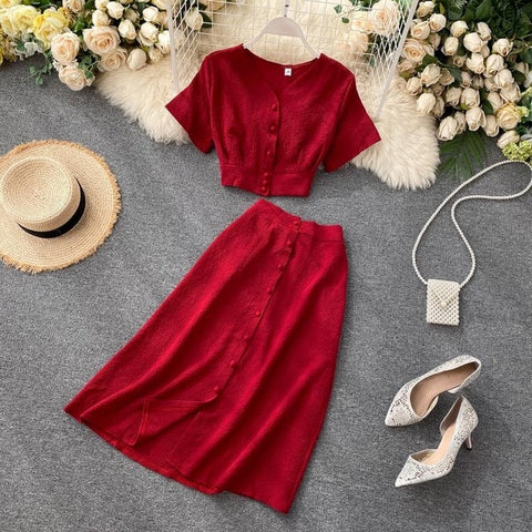 FTLZZ New Summer Women Casual V Neck Single Breasted Crop Tops High Waist A-line Solid Color Skirt Two Piece Set