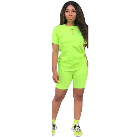 Lemon Gina Summer Women Short Sleeve O-Neck Tee Top s Two Piece Set Sporty Active Tracksuit Outfit