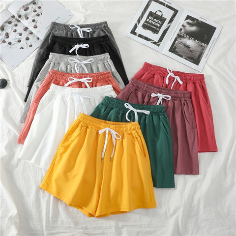 Summer Casual Solid Drawstring shorts high waist loose shorts for girls