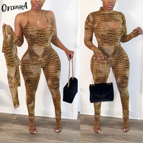 women serpentine o-neck full sleeve crop top halter jumpsuit fitness elastic tight