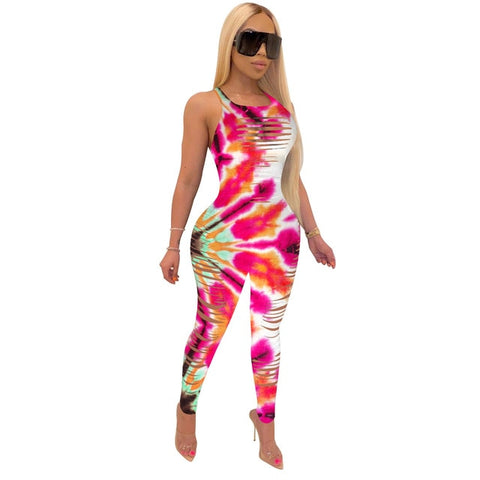 Tie Dye Rompers Women Jumpsuit Sexy Front Hollow Hole Sleeveless Fitness Catsuit