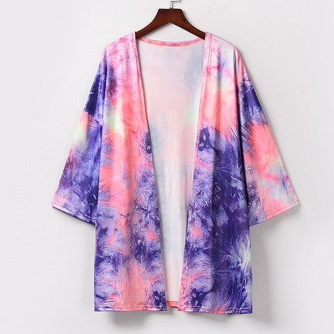 Summer loose tie-dye cardigan Women Printing Chiffon Beach Kimono Long  Blouse Shawl