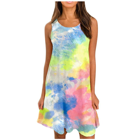 Fashion Women Boho Dress Summer Tie-Dye Irregular Hem Casual Swing Mini Tee Tank Dress