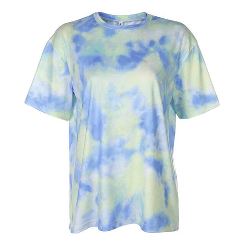 Casual Tie Dye Two Piece Set Women Gym Clothing Short Sleeve