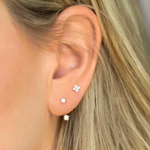 Sterling Silver Stud Earrings Cute Zircon ear bone nail Mini Crystal Flower Pierced Earrings Fashion Jewelry