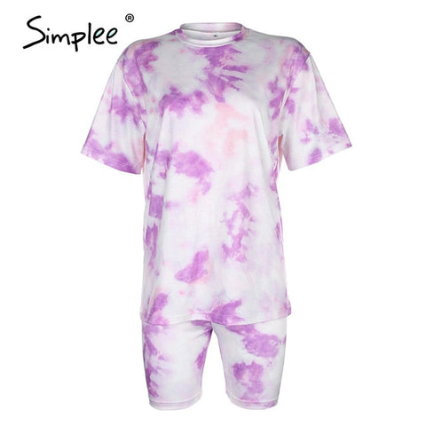 two piece suits Tie dye  T-shirt suit Sports style bicycles shorts set 2020 NEW