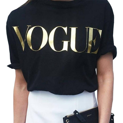 Women 2020 new vintage vogue letter print short sleeve summer style T-shirt