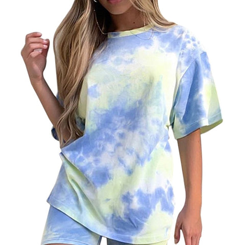 Tie Dye Print Basic Tshirt Shorts Two Piece Set Women Casual Outfits