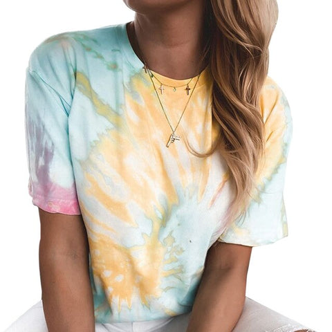 Tie-Dye Printed Shirt Blouse Summer Short Sleeve Women Tops