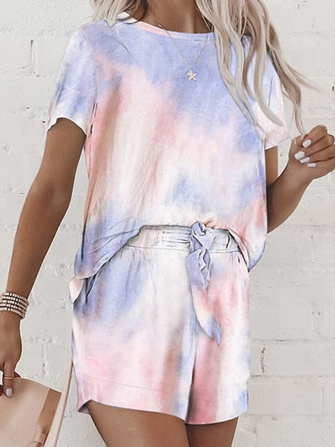 Women suit Casual outfits  two piece  Tie dye printing backsuits