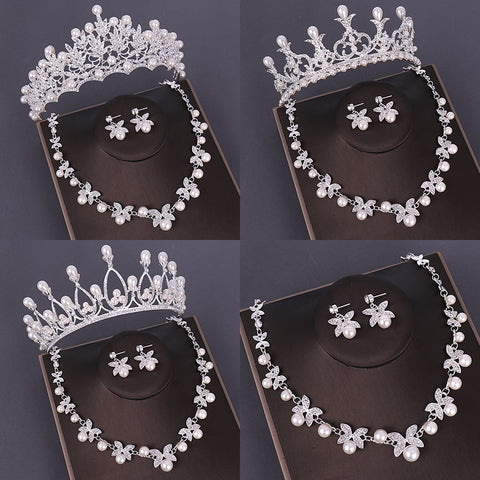 Fashion Bridal Jewelry Sets Wedding Crown Necklace With Earrings