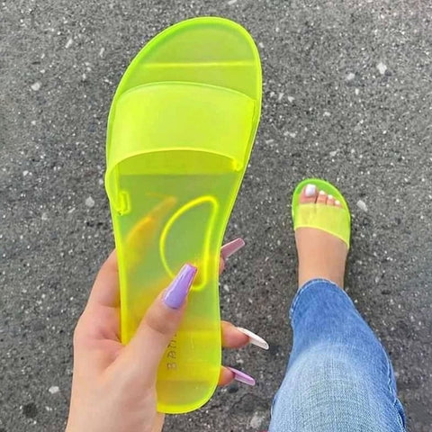 Teen Fashion Transparent Candy Color Slippers