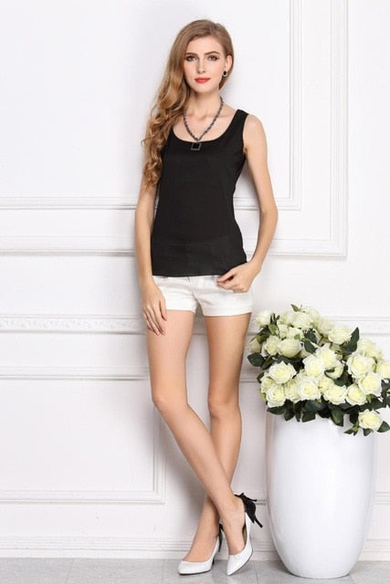 Cheap Women Lady Solid Round Neck Loose Sleeveless Chiffon Blouse Shirts