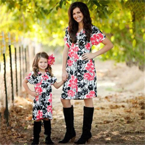Mother Daughter Dresses Summer Boho Style Family Matching Sets Clothes