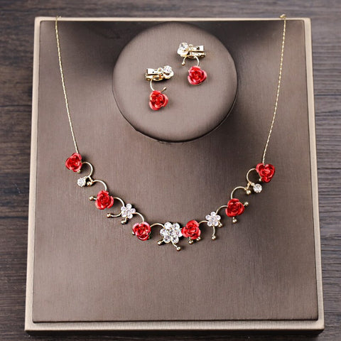 Fashion Gold Wedding Jewelry Sets Red Rose Flower Crystal Necklace Clips Earrings Sets For Women Bridal Wedding