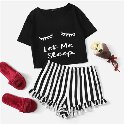 Black Graphic Tee Frilled Striped Shorts