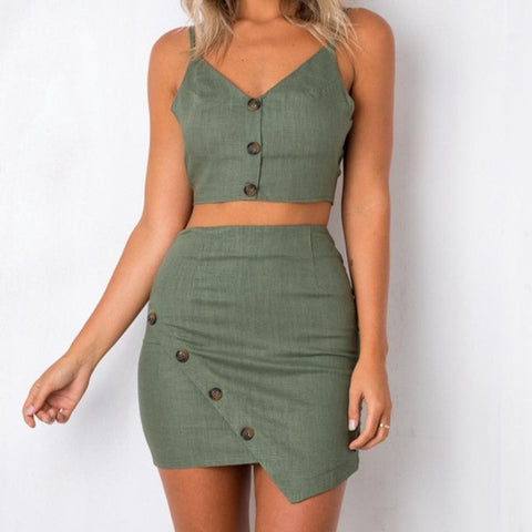 V-neck Sling Backless Knot Crop Top Hip Skirt Suit