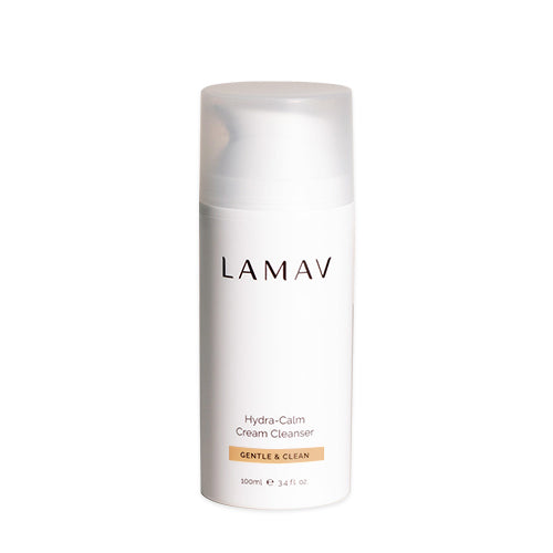 LaMav Hydra Calm Cleanser. A gentle, ultra-rich cleansing cream formulated with Aloe Vera Leaf Juice, Avocado and Camellia Oil to soothe and remove impurities, make-up and pollutants. Shop at Skinbase Beauty