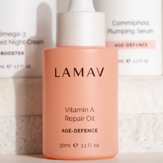LaMav Vitamin A Repair Oil. An advanced age-defying Vitamin A blend created to visibly transform the skin. Shop at Skinbase Beauty.