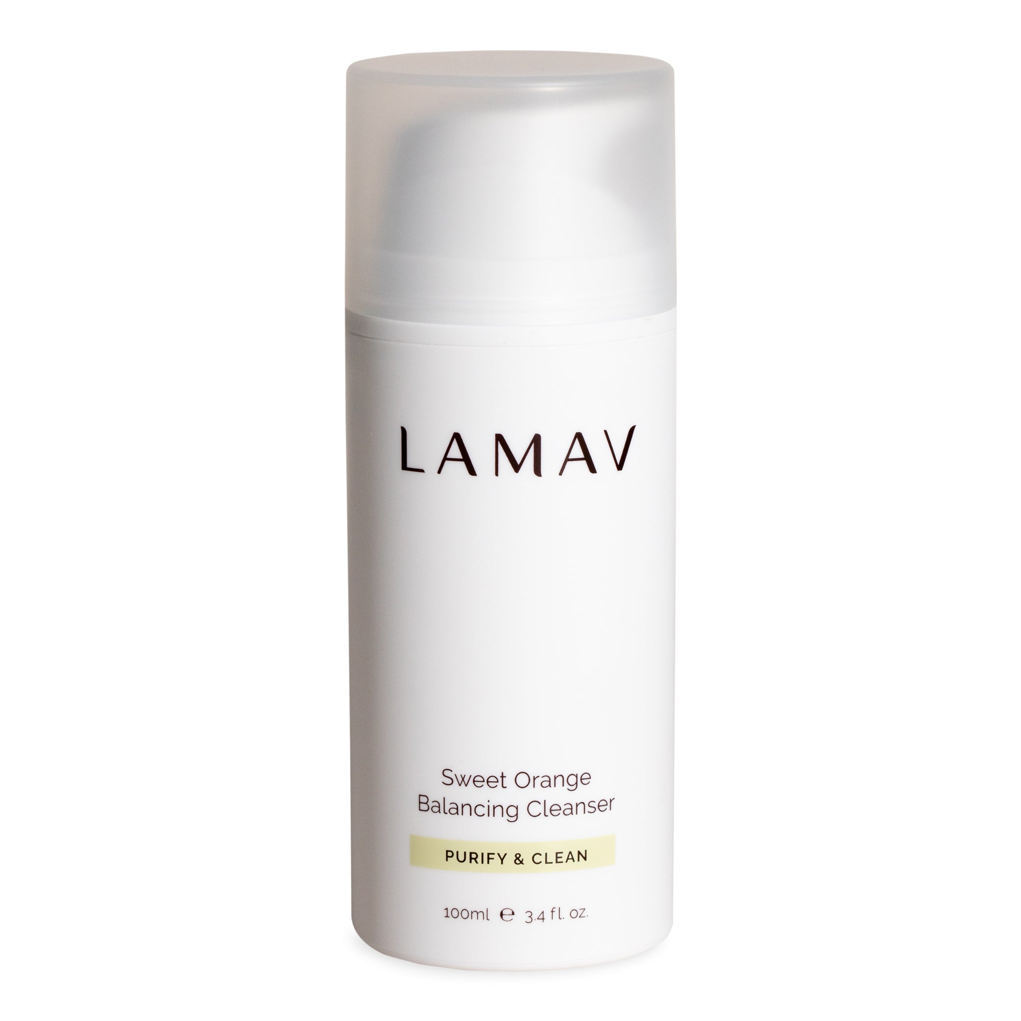 LaMav Sweet Orange Balancing Cleanser. A purifying deep cleansing gel formulated to clean and balance oily and combination skin. Shop at Skinbase Beauty.