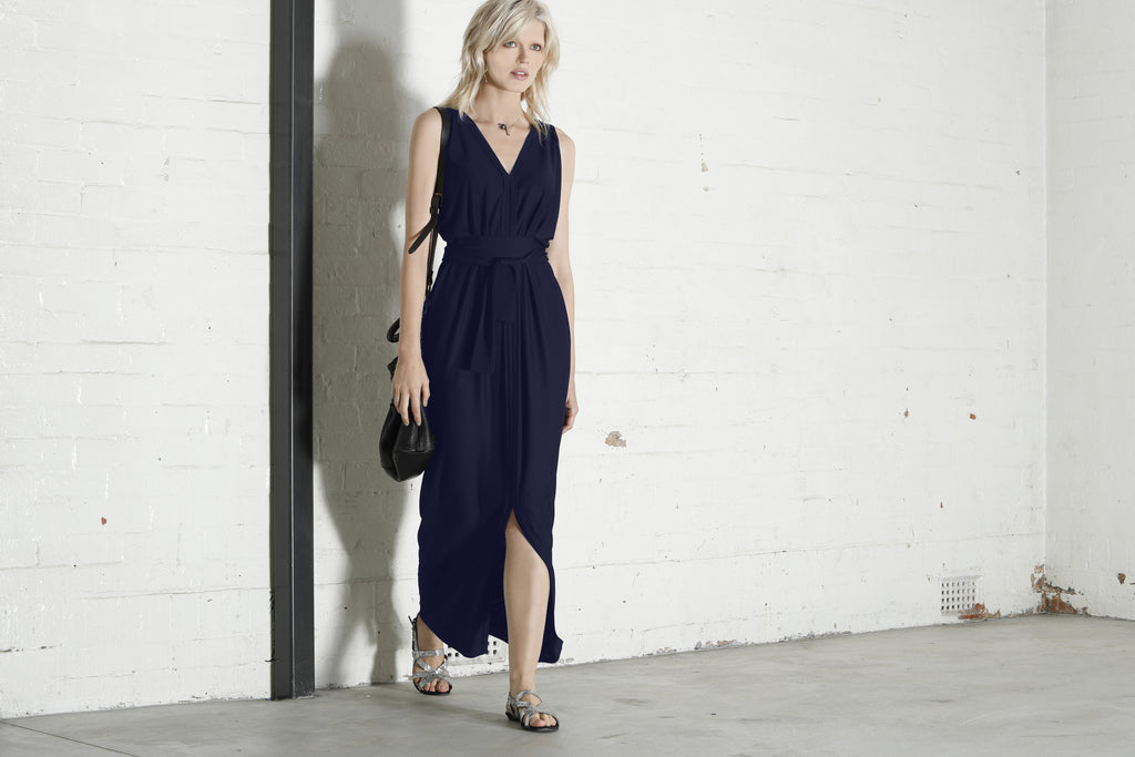 Reversible Column Drape Maxi Dress