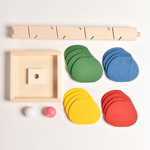 Colorful Wooden Run Track with Marble Ball