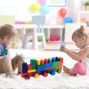 112pcs/Set Colorful Wooden Blocks