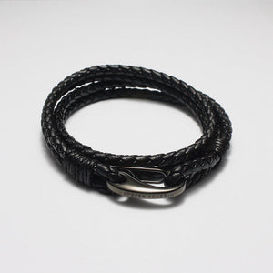 CESARIO BLACK LEATHER BRACELET - Stefan Severin Leather Accessories